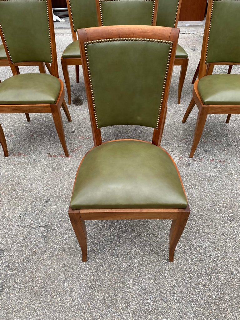 Set of 8 French Art Deco Solid Mahogany Dining Chairs, 1940s For Sale 2