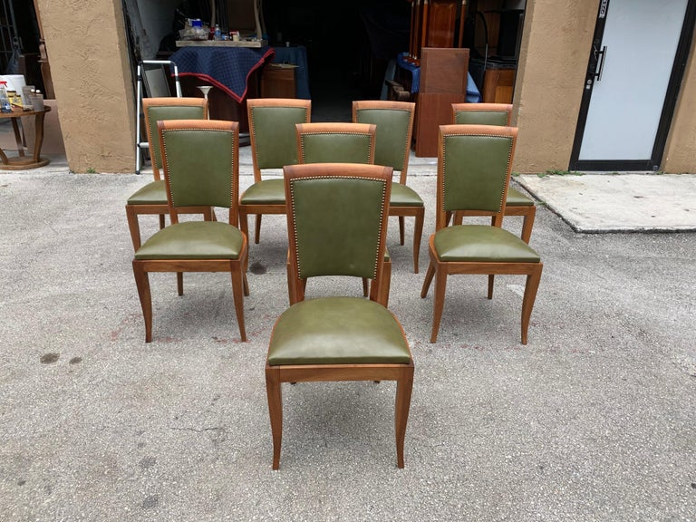 Set of 8 French Art Deco Solid Mahogany Dining Chairs, 1940s For Sale 3