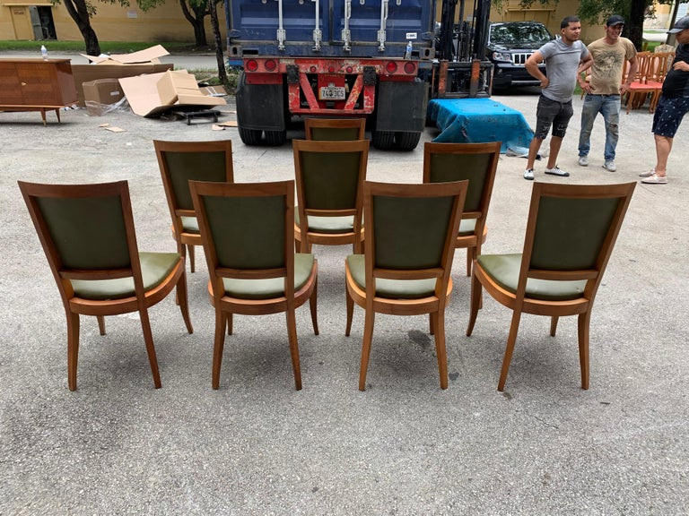 Set of 8 French Art Deco Solid Mahogany Dining Chairs, 1940s For Sale 4