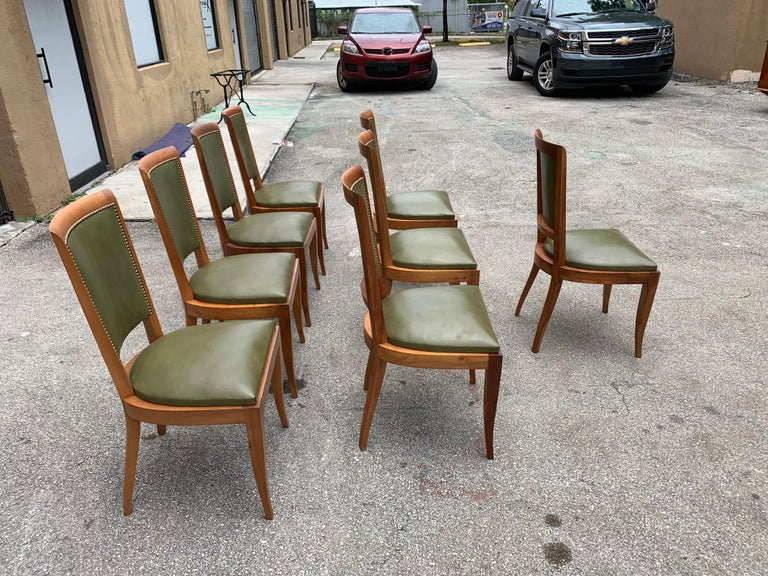 Set of 8 French Art Deco Solid Mahogany Dining Chairs, 1940s For Sale 5