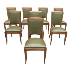 Set of 8 French Art Deco Solid Mahogany Dining Chairs, 1940s