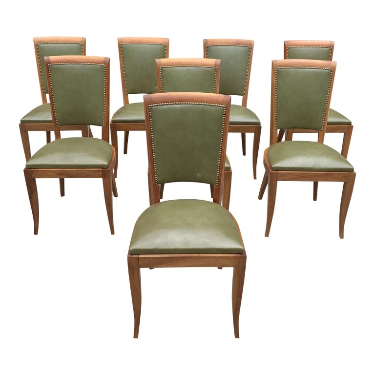 Set of 8 French Art Deco Solid Mahogany Dining Chairs, 1940s For Sale