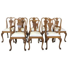 Set of 8 French Burled Walnut and Claw Foot Dining Chairs