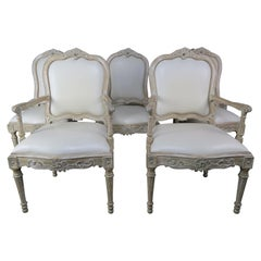 Set of 8 French Carved White Leather Dining Chairs