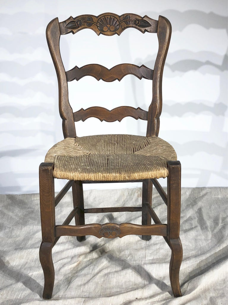 Hand-Carved Set of 8 French Country Dining Chairs