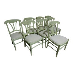 Set of 8 Green Painted French Country Dining Chairs