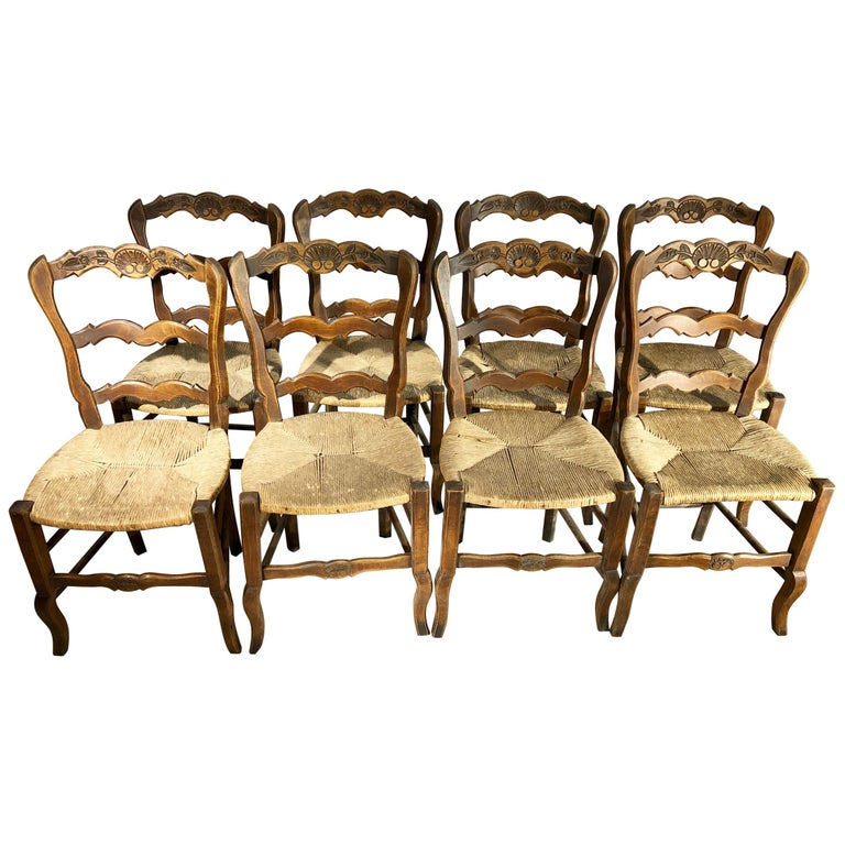 Set of 8 French Country Dining Chairs
