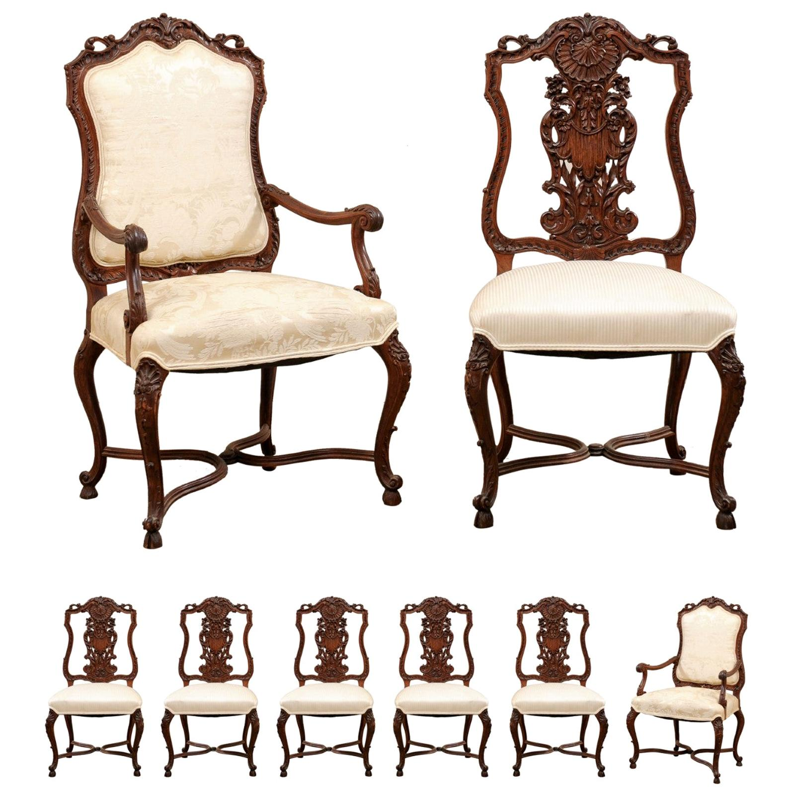 Set of 8 French Dining Chairs with Shield-Shaped Backs, Elaborately Carved