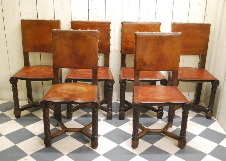 Set of 8 French Gothic Oak and Leather Dining Chairs