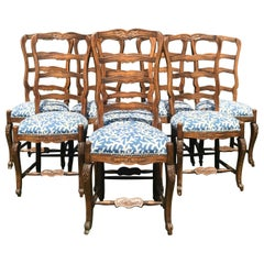 Set of 8 French Ladder Back Dinning Chairs with Carved Flowers