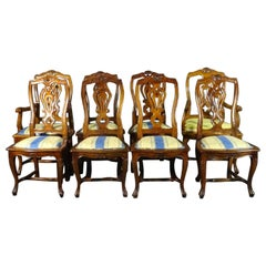 Set of 8 French Louis XV Carved Walnut Twist Back Dining Chairs, C1960s