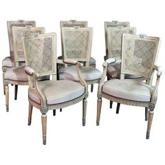 Set of 8 French Louis XVI Style Caned Back Dining Chairs