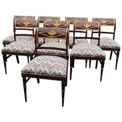 Set of 8 French Mahogany Directoire Style Dining Chairs