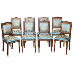 Set of 8 French Napoleon III Empire Style Dining Chairs Bronze Mounts Part Suite