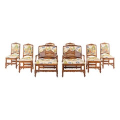 Set of 8 Schumacher Provincial Wood Chinoiserie Dining Chairs by Interior Crafts