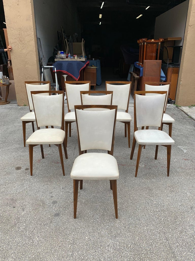 Set of 8 French Vintage Modern Solid Mahogany Dining Chairs, 1940s For Sale 6