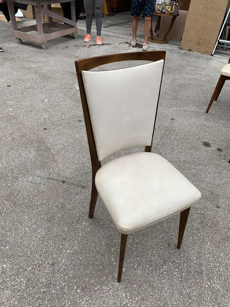 Set of 8 French Vintage Modern Solid Mahogany Dining Chairs, 1940s For Sale 7