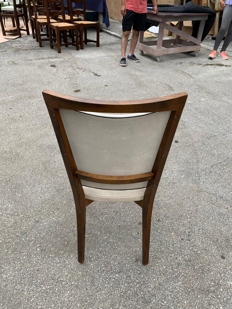 Set of 8 French Vintage Modern Solid Mahogany Dining Chairs, 1940s For Sale 8