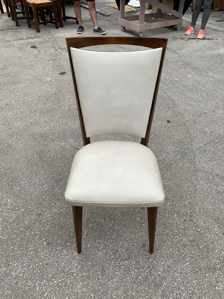 Set of 8 French Vintage Modern Solid Mahogany Dining Chairs, 1940s For Sale 9