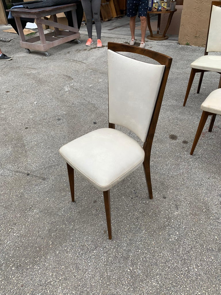 Set of 8 French Vintage Modern Solid Mahogany Dining Chairs, 1940s For Sale 10