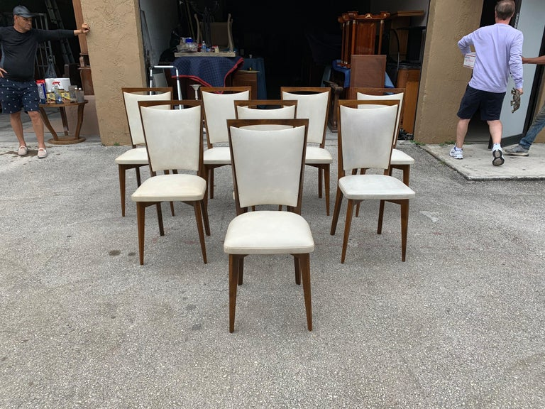 Mid-Century Modern Set of 8 French Vintage Modern Solid Mahogany Dining Chairs, 1940s For Sale
