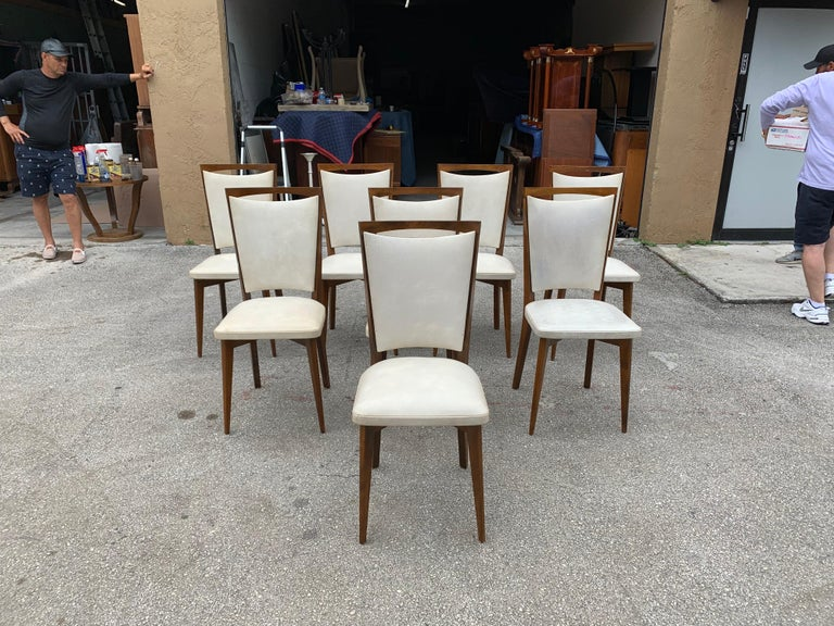 Set of 8 French Vintage Modern Solid Mahogany Dining Chairs, 1940s In Good Condition For Sale In Hialeah, FL