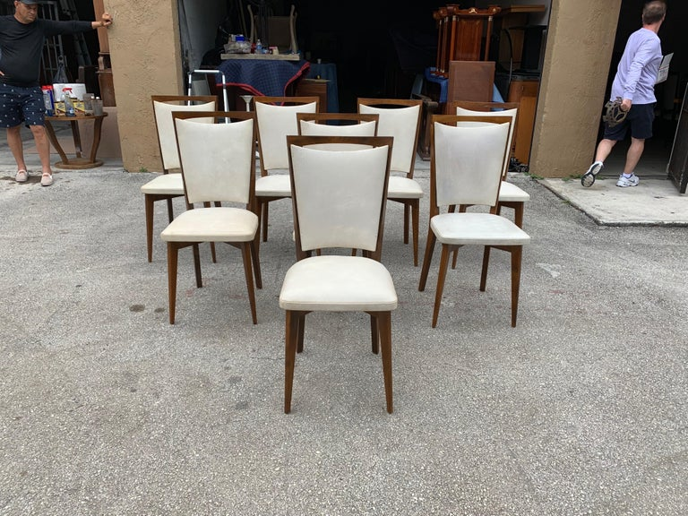Mid-20th Century Set of 8 French Vintage Modern Solid Mahogany Dining Chairs, 1940s For Sale