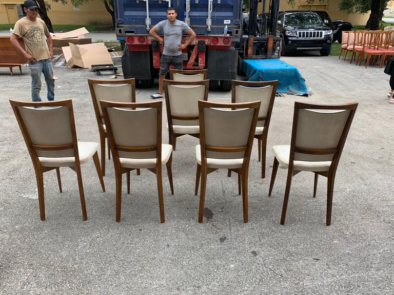 Set of 8 French Vintage Modern Solid Mahogany Dining Chairs, 1940s For Sale 1