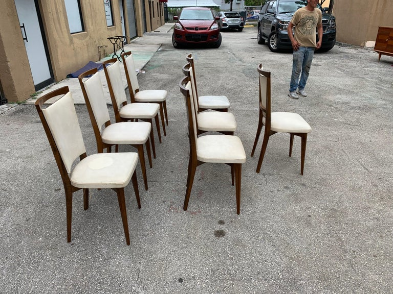 Set of 8 French Vintage Modern Solid Mahogany Dining Chairs, 1940s For Sale 2