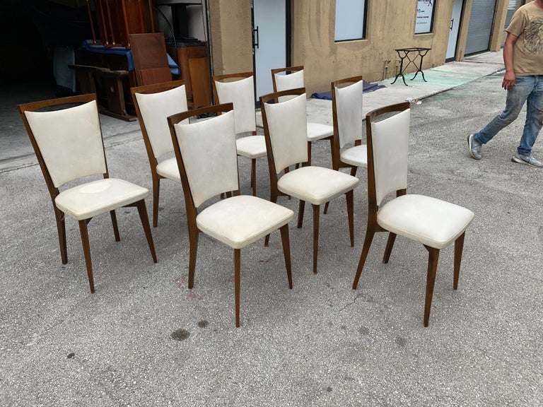 Set of 8 French Vintage Modern Solid Mahogany Dining Chairs, 1940s For Sale 3