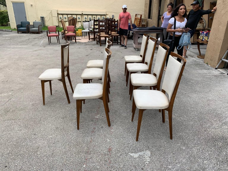 Set of 8 French Vintage Modern Solid Mahogany Dining Chairs, 1940s For Sale 4