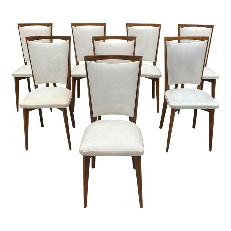 Set of 8 French Vintage Modern Solid Mahogany Dining Chairs, 1940s For Sale
