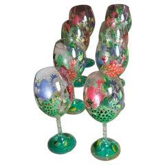 Set of 8 Frog White Wine Glasses