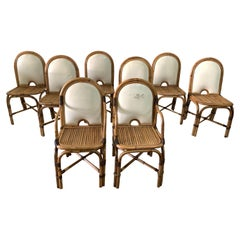 "Set of 8 Gabriella Crespi ""Rising Sun"" Bamboo Dining Chairs"