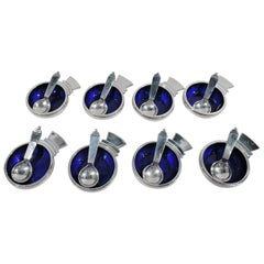 Set of 8 Georg Jensen Pyramid Sterling Silver and Enamel Open Salts and Spoons