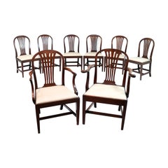 Set of 8 George III Gillows Mahogany Fan Back Dining Chairs