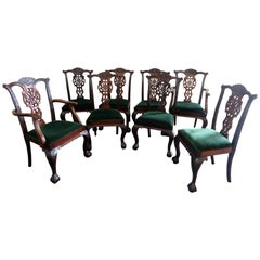 Set of 8 Finely Carved Solid Mahogany Georgian Style Dining Chairs C1920s