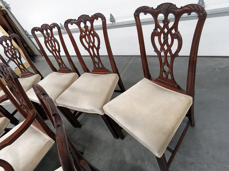 Set of 8 Georgian Style Dining Room Chairs For Sale at 1stdibs