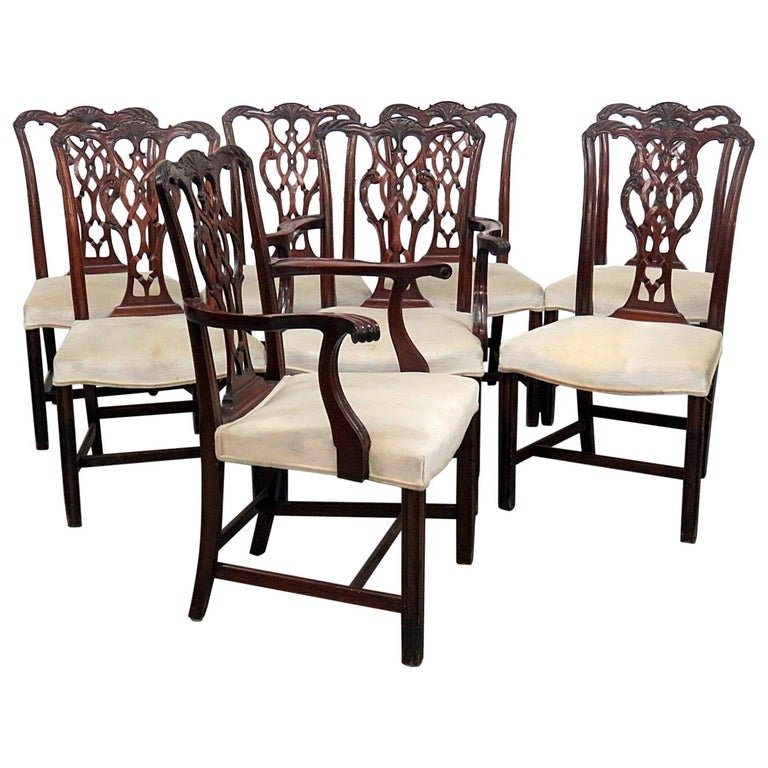 Set Of 8 Georgian Style Dining Room Chairs For
