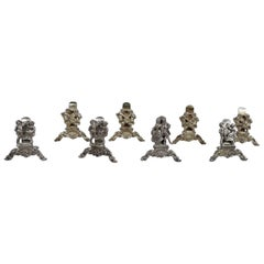 Set of 8 German Court and Country Sterling Silver Place Card Holders