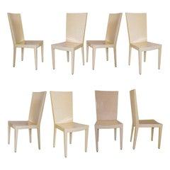 """Set of 8 Goatskin """"JMF"""" Dining Chairs, Karl Springer"""