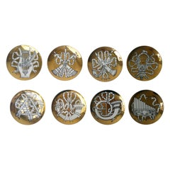 "Set of 8 Gold White and Black Fornasetti ""Musicalia"" Cocktail Porcelain Coasters"