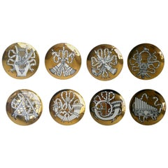 "Set of 8 Gold, White & Black Fornasetti ""Musicalia"" Cocktail Porcelain Coasters"