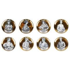 Set of 8 Golden & White Ceramic Small Coaster, Fornasetti Melodramma Series