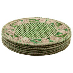 Set of 8 Green and Cream Round Iraca Fibre Placemats