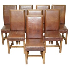 Set of 8 Halo Soho High Back Brown Leather Dining Chairs Oak Frames