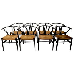 Set of 8 Hans Wegner Carl Hansen CH 24 Wishbone Y Chairs in Black Finish