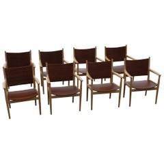 Set of 8 Hans Wegner JH 513 Armchairs Teak and Oak by Johannes Hansen