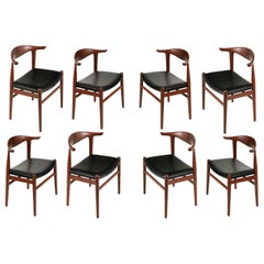 """Set of 8 Hans Wegner PP505 Teak & Black Leather """"Cow Horn"""" Chairs, Denmark 1950s"""
