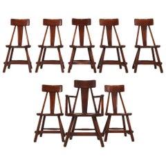 Set of 8 Herman DeVries for Cushman Hard Rock Vermont Maple American Craft